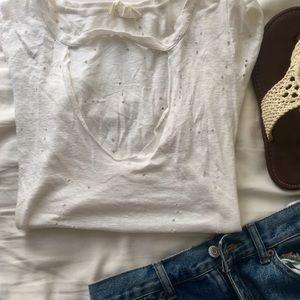 Distressed cutout t shirt